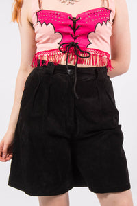 Vintage Black Suede High Waist Shorts