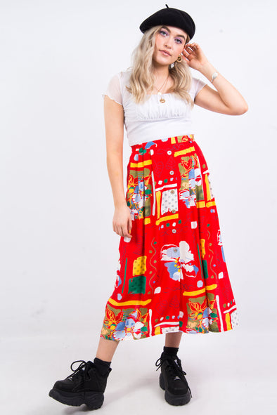 Vintage 90's Abstract Floral Print Skirt