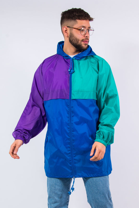 90's Vintage Colourblock WIndbreaker Rain Jacket