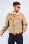 Vintage Old Navy brand beige cord shearling jacket with plush fleece lining