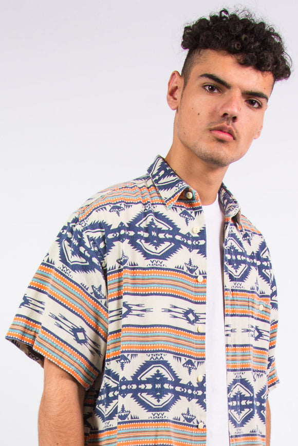 90's Aztec Pattern Short Sleeve Shirt