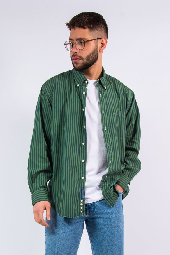 Vintage 90's Green Striped Shirt