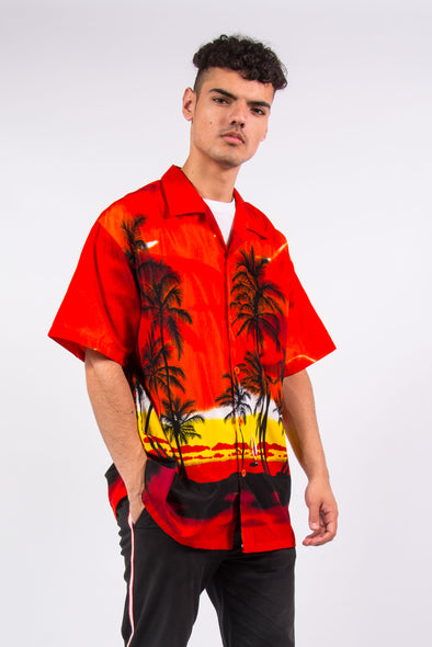 Vintage 90's red sunset short sleeve Hawaiian shirt
