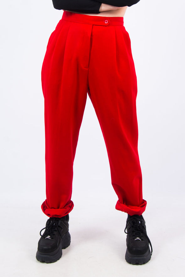 Vintage 90's Red High Waist Wool Trousers