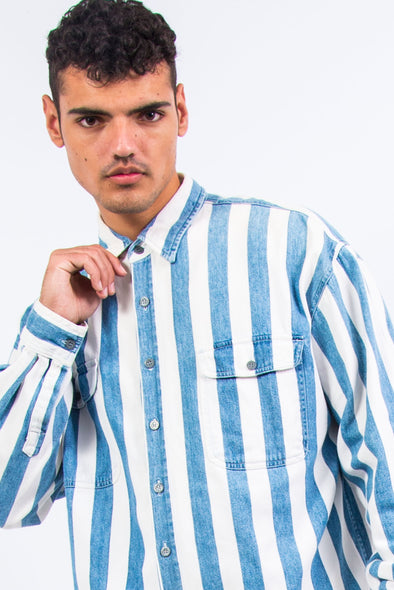 90's Vintage Striped Denim Shirt