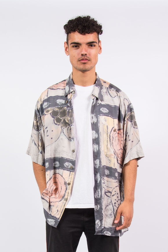 Vintage 90'S Abstract Print Short Sleeve Shirt