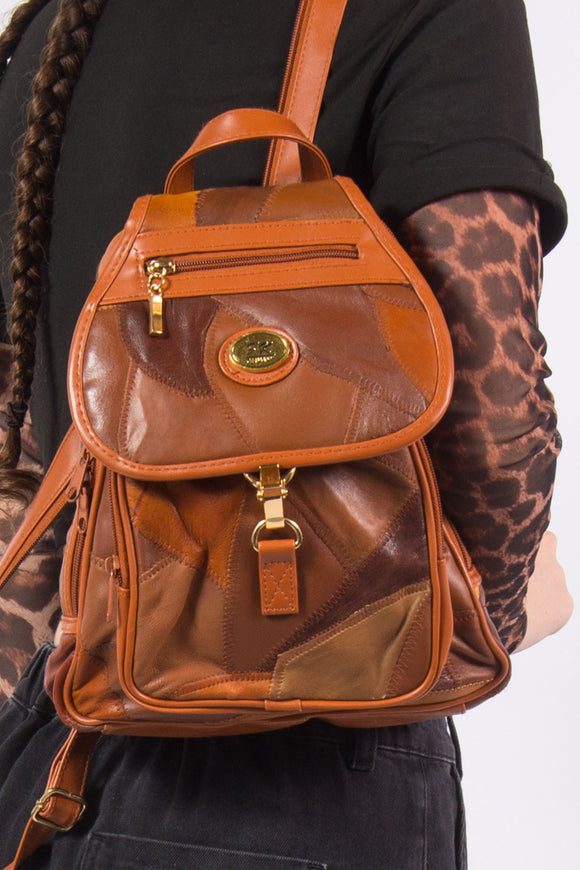 Vintage Brown Leather Patchwork Backpack Rucksack