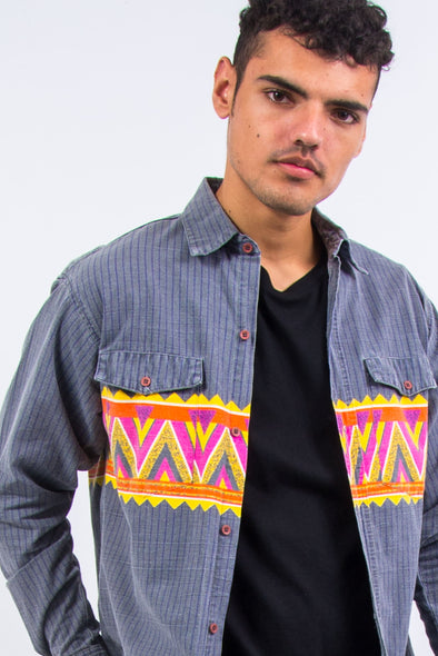 90's Aztec Pattern USA Ranch Shirt
