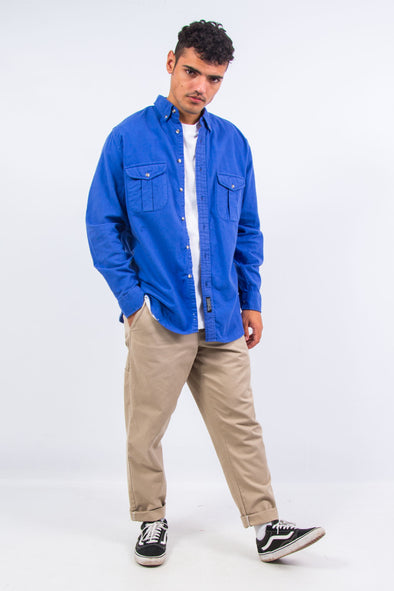 90's Plain Blue Flannel Shirt