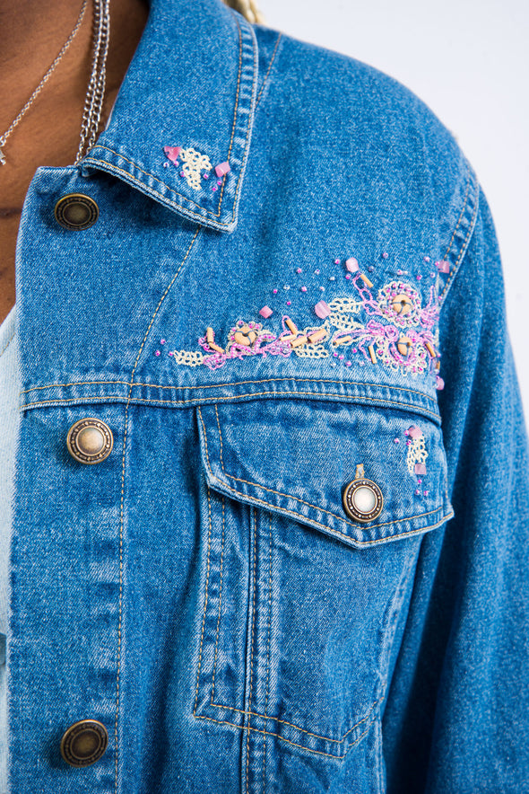 Vintage 00's Beaded Denim Jacket