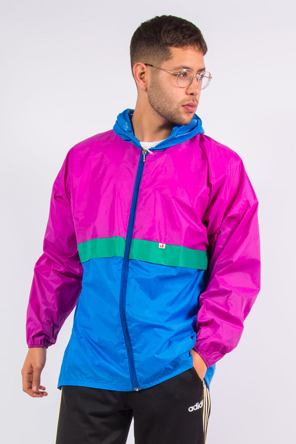Vintage 90's colourblock waterproof cagoule jacket with hood