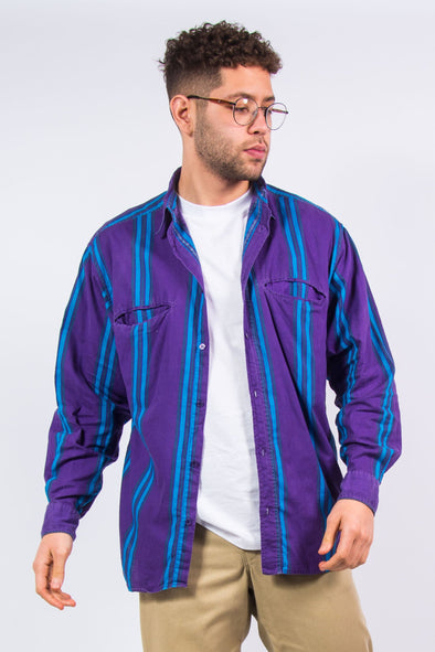 90's Vintage Purple Striped Shirt