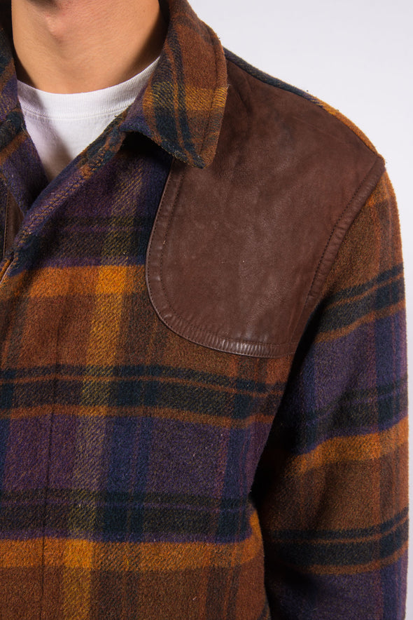Vintage Check Pattern Wool Coat