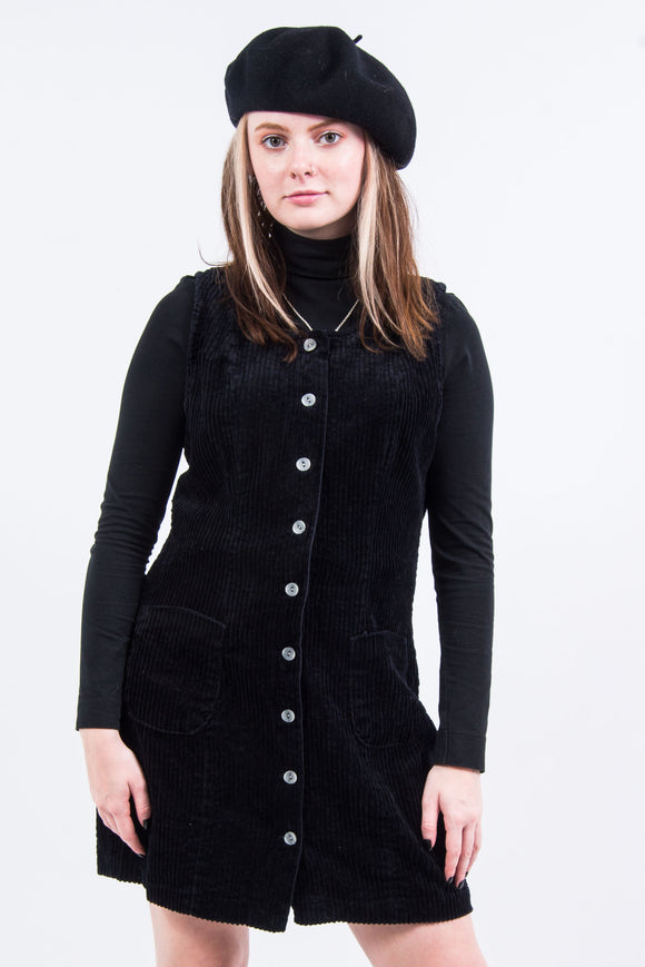 Vintage 90's Black Cord Pinafore Dress