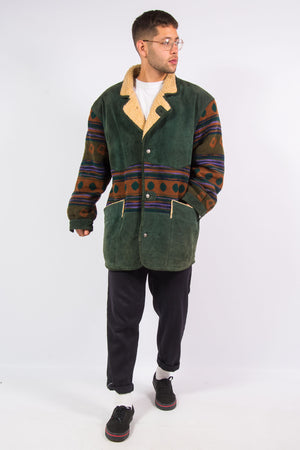 Vintage Sherpa Lined Suede Aztec Coat