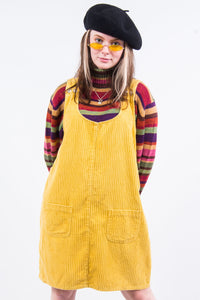 Vintage 90's Yellow Cord Pinafore Dress