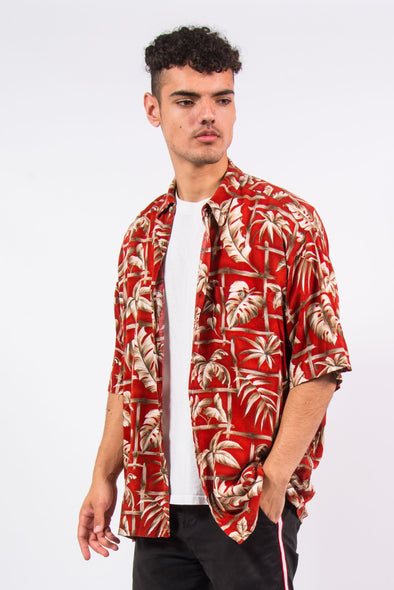 Vintage red hawaiian floral print shirt