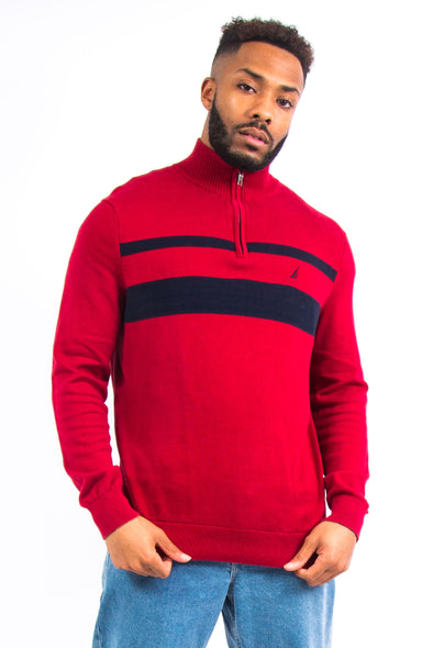 Nautica Red 1/4 Zip Sweatshirt