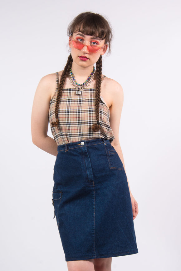 Vintage 90's Dark Blue Denim Skirt