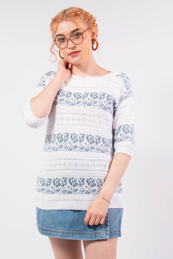 Vintage 80's Knit Short Sleeve Jumper