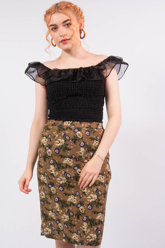 Vintage Floral Pattern Pencil Skirt