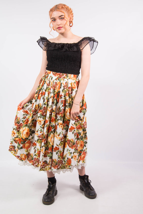 Vintage 80's Floral High Waist Prarie Midi Skirt