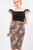 Vintage Paisley Patterned Pencil Skirt