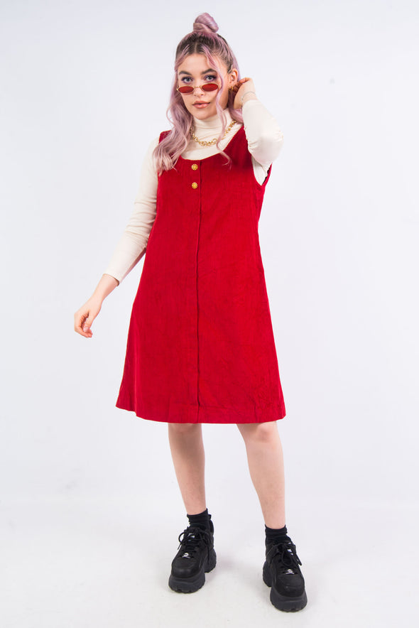 Vintage 90's Red Cord Pinafore Dress