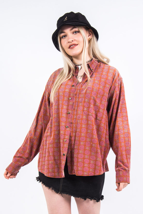 Vintage 90's Red Abstract Patterned Shirt