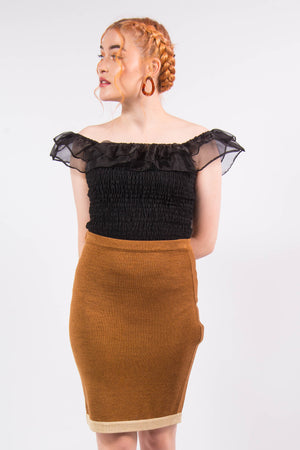 Vintage High Waist 90's Grunge Brown Knit Skirt