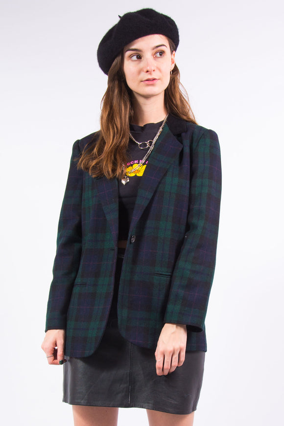 Vintage 90's Clueless Tartan Blazer with Velvet Collar