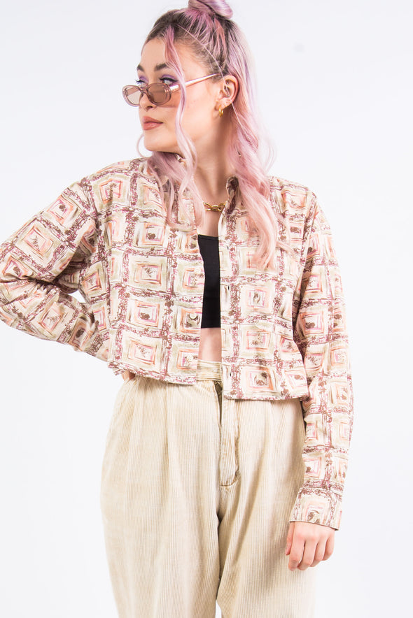 Vintage 90's Geometric Cropped Shirt