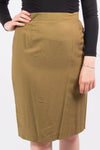 Vintage High Waist Olive Green Pencil Skirt