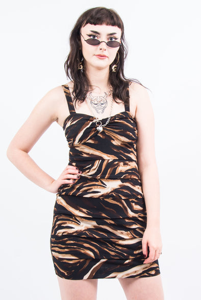 Vintage Animal Print Bodycon Dress