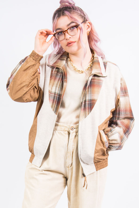 Vintage 90's Check Panel Shell Jacket