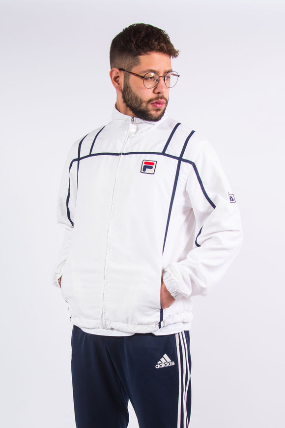90's Fila White Line Tennis Tracksuit Top