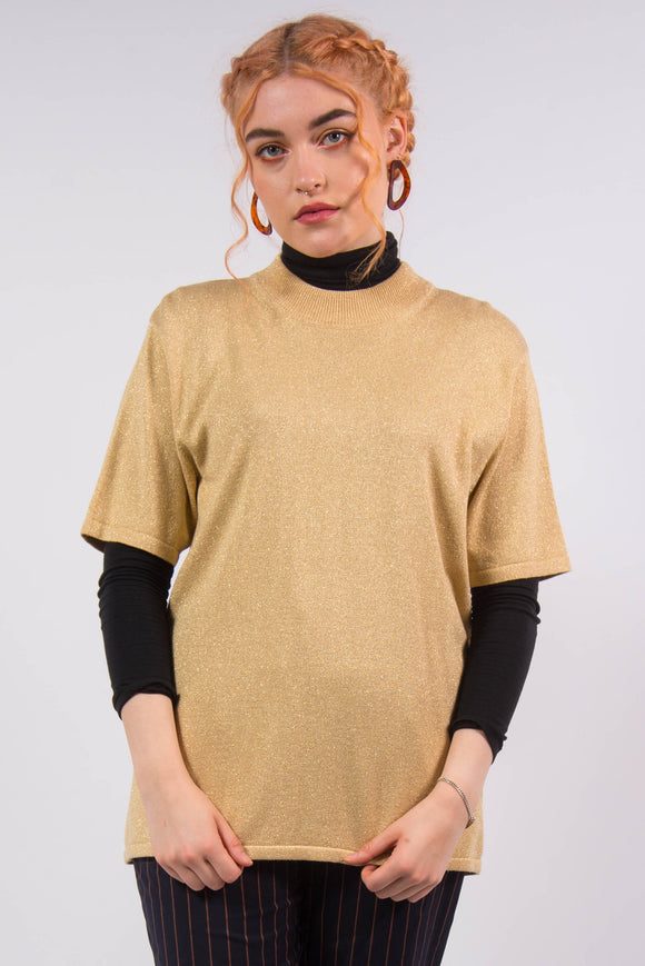 Vintage Gold Sparkle Knit Top