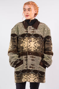 Vintage Thick Fleece Patterned Coat