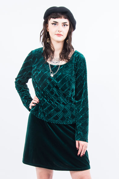 Vintage 90's Green Velvet Layered Mini Dress
