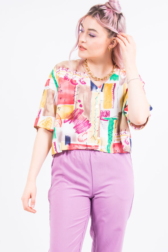 Vintage 90's Abstract Print Cropped Shirt