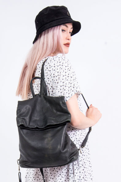 Vintage Black Leather Rucksack Backpack