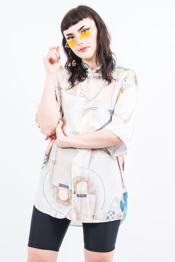 Vintage 90's Abstract Print Oversize Shirt