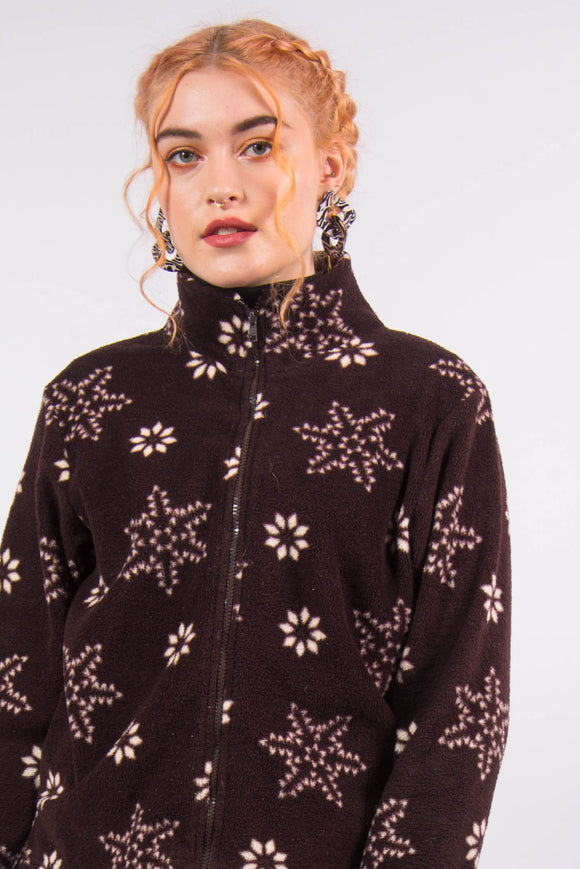 Vintage 90's Brown Snowflake Print Fleece Jacket