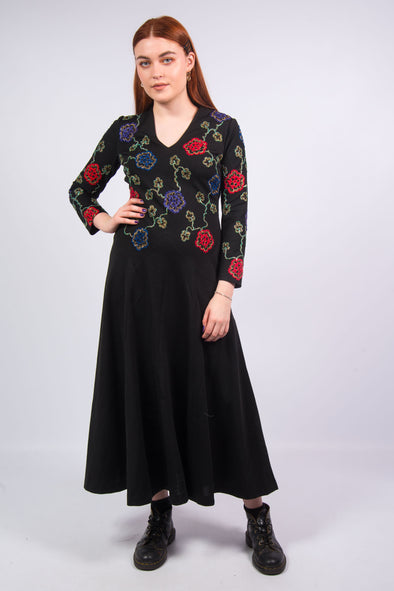 Vintage 70's Floral Embroidered Dress