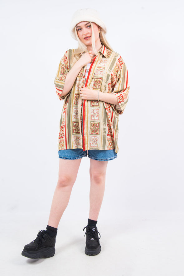 Vintage 90's Beige Abstract Print Shirt