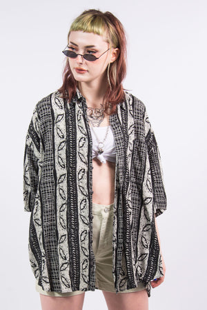 Vintage 90's Abstract Leaf Print Oversize Shirt