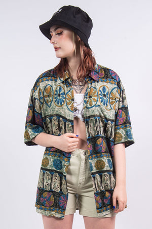 90's Vintage Abstract Floral Vacation Shirt