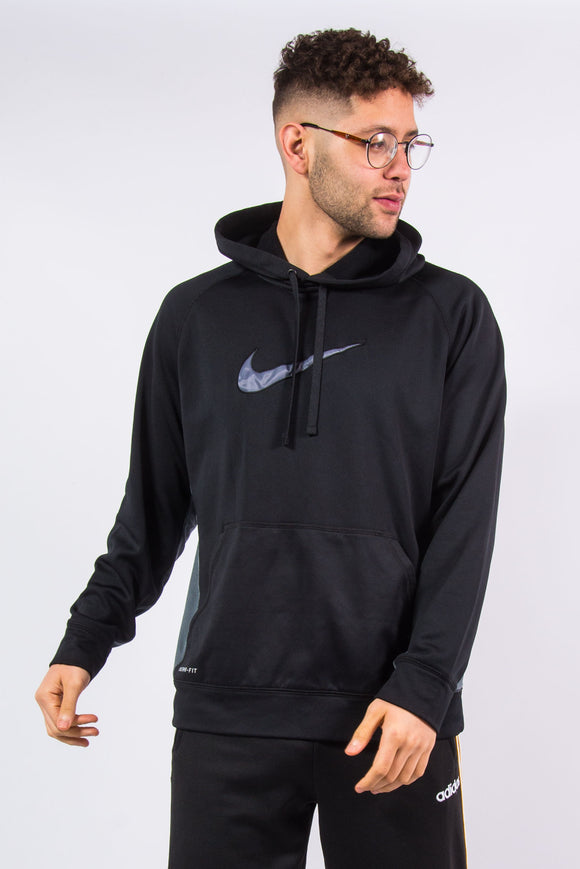 Nike Therma-Fit black and grey fleece inner sports hoodie with embroidered logo on front.