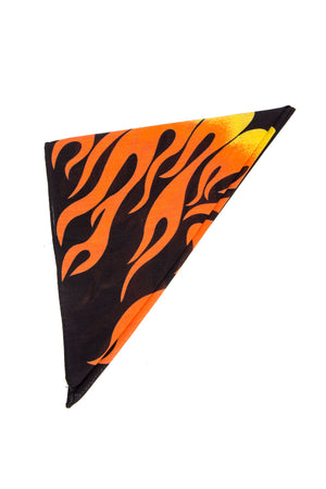 Y2K Orange Flame Print Bandana
