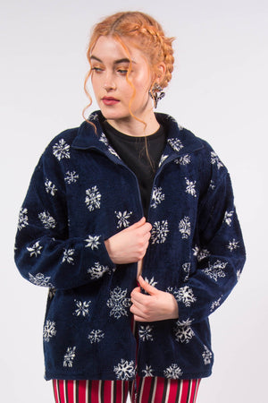 Vintage 90's Blue Snowflake Print Fleece Jacket